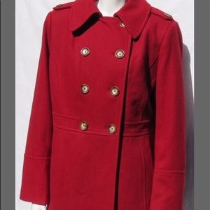 Michael Kors Red Pea coat,  size Medium